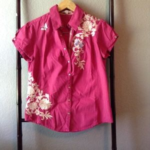 Vtg. 3J Workshop Butterfly Paradise Pearl Snap Top